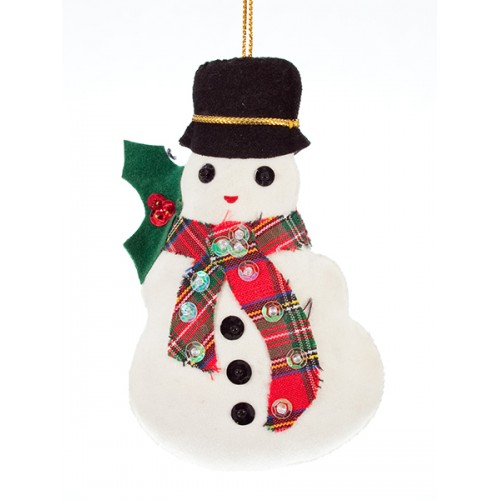 Snowman with Tartan Scarf Christmas Tree Decoration