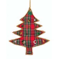 Tartan Sequin Tree Christmas Ornament