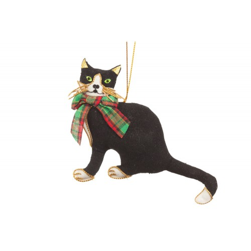 Cat with Tartan Bow Christmas Ornament