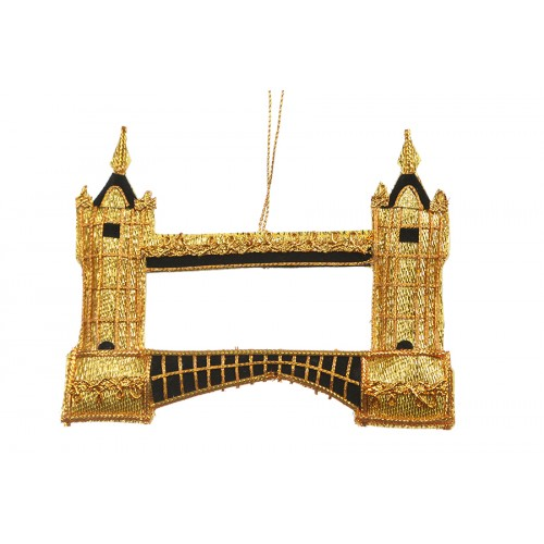 Gold Tower Bridge Christmas Ornament