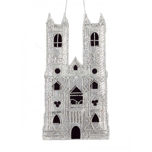 Silver Westminster Abbey Christmas Ornament