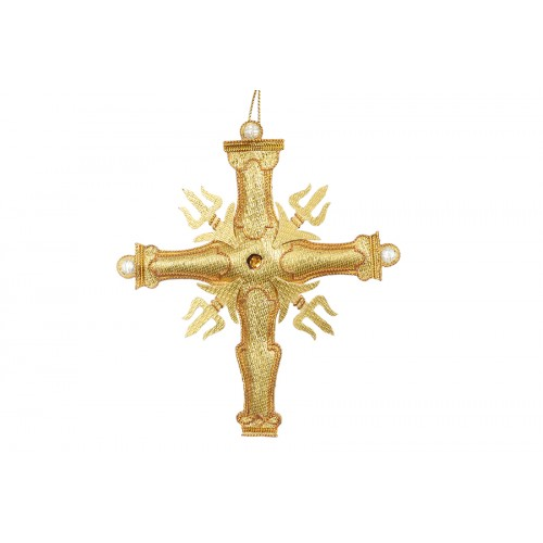 Gold High Altar Cross Christmas Ornament