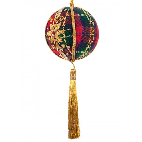 Large Tartan Ball with Edinburgh Christmas Tree Decoration