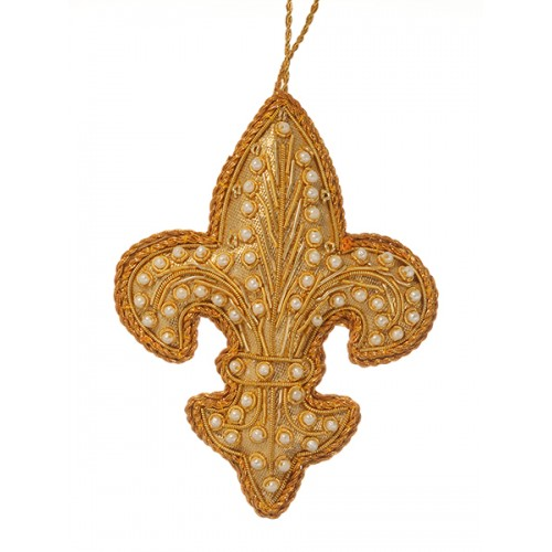 Gold Pearl Fleur de Lis  Christmas Decoration