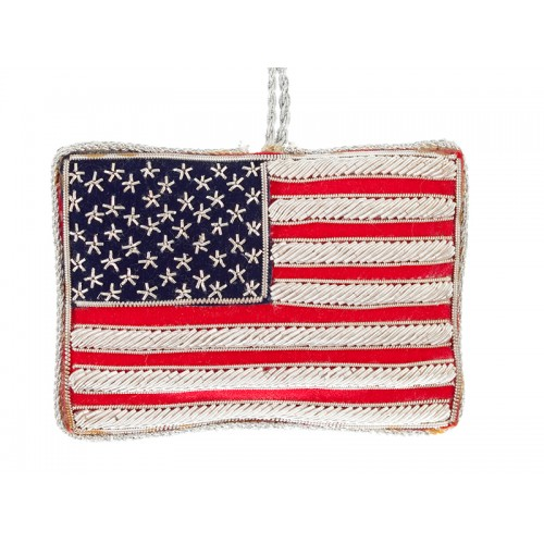 American Flag with God Bless America Christmas Ornament