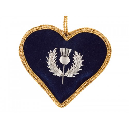 Navy Heart with Scotland Tartan Reverse  Christmas Ornament