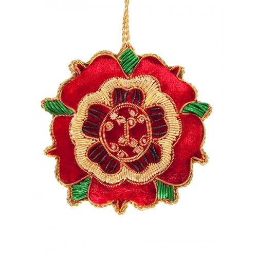 Red Velvet Tudor Rose  Christmas Ornament