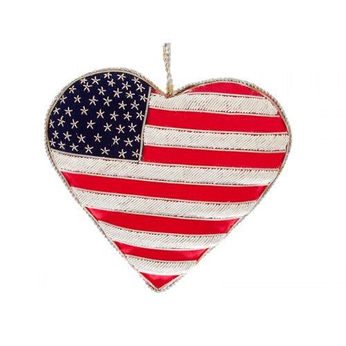 USA Flag Heart Christmas Ornament