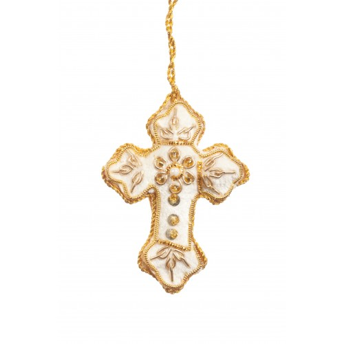 Mini Ivory Cross Christmas Decoration