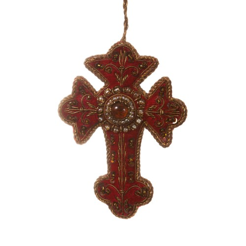 Red Velvet Cross Decoration