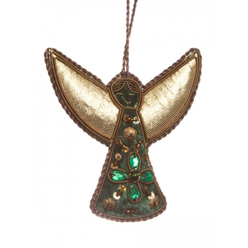 Large Green Angel with Gems Christmas Decoration
