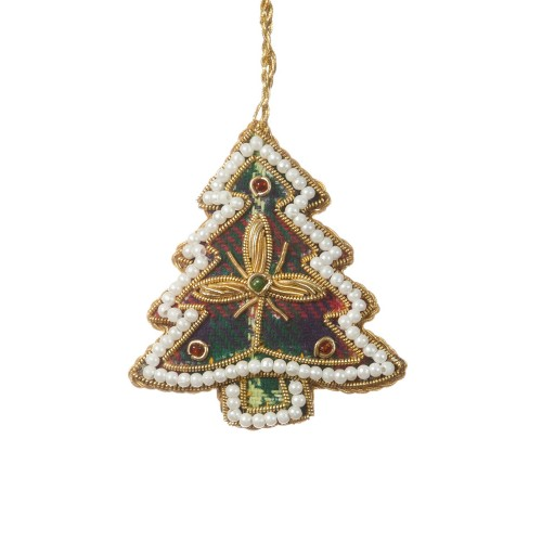 Mini Tartan Tree with Pearl Border Christmas Decoration