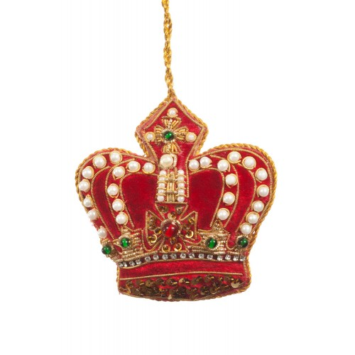 Red Pearl Crown Christmas Ornament