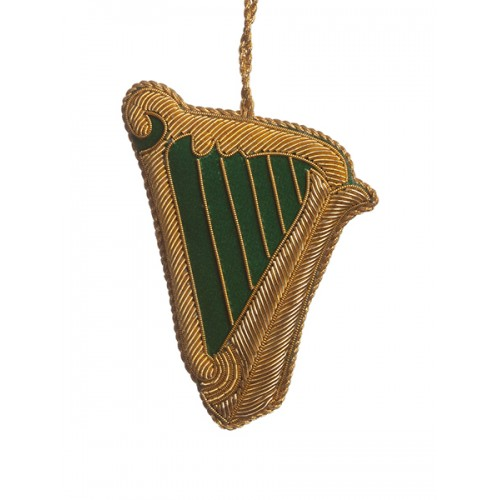 Gold Embroidered Irish Harp Christmas Ornament