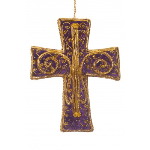 Royal Purple Swirly Cross Christmas Decoration