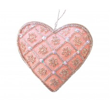 Pink Silk Heart Christmas Decoration