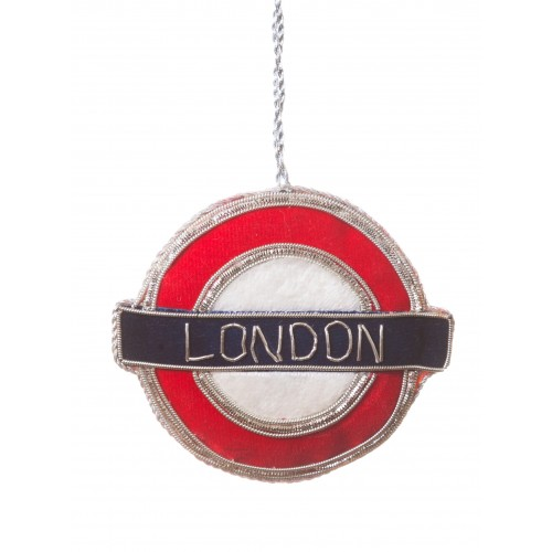 Velvet London Underground Sign Christmas Decoration