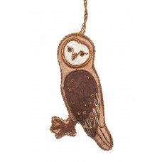 Light Brown Velvet Owl Christmas Ornament